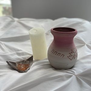 Other - Cute clay tribal mini vase / pencil holder